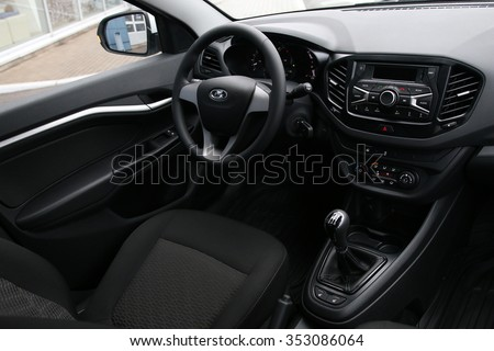 MINSK, BELARUS - DECEMBER 19, 2015: New LADA Vesta at the test drive event for automotive journalists from Minsk, interior design
