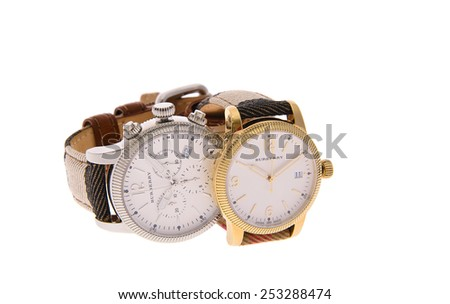 Minsk, Belarus - February 12, 2015: Burberry Men's and Women's Watches Isolated