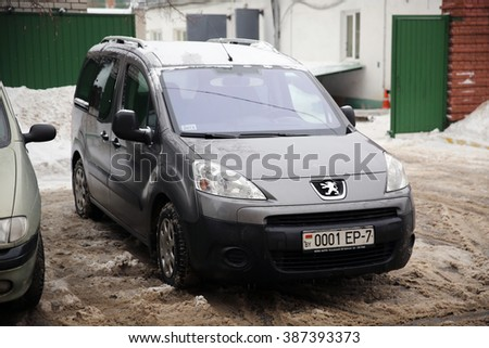 MINSK, BELARUS: JANUARY 26, 2016: PEUGEOT PARTNER TEPEE
