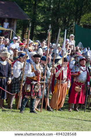 Minsk, Belarus - July 25, 2015: Historical restoration of knightly fights of Battle of Grunwald