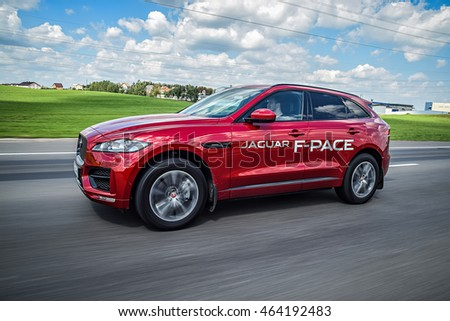MINSK, BELARUS - JULY 1, 2016: Jaguar F-Pace at the test-drive event. F-Pace is a first SUV by Jaguar, it is a performance SUV that combines maximum driving exhilaration with efficiency.