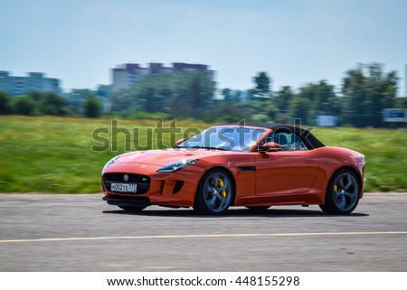 MINSK, BELARUS - JULY 1, 2016: Jaguar F-Type 5.0 Litre V8 550 Supercharged AWD at the test-drive. F-Type's technical excellence gives it a breadth of capabilities to suit the demands of every driver.