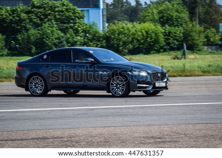 MINSK, BELARUS - JULY 1, 2016: Jaguar XF at the test-drive. XF combines engine power and sporting luxury in breathtaking style. XF builds on the success of Jaguar's most award-winning car ever.