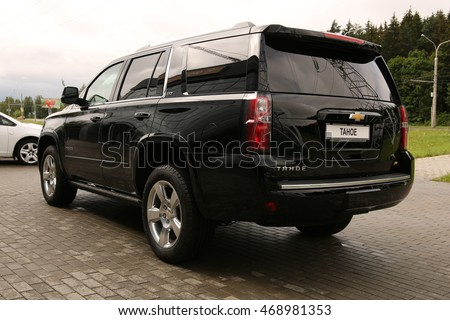 MINSK, BELARUS JULY 22, 2016: New Chevrolet Tahoe LTZ at the test drive event for automotive journalists from Minsk
