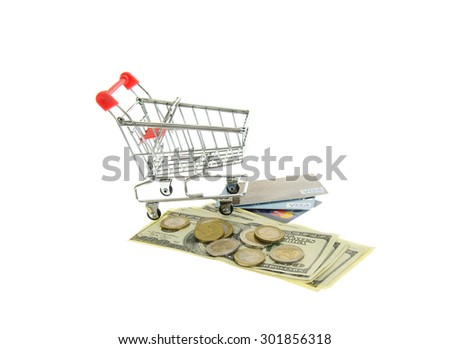 Minsk, Belarus - July 25, 2015: Shopping Carts with Money and Bank Cards Visa, MasterCard. Location: US, Foundation Visa in 1970 the, Mastercard in 1966.