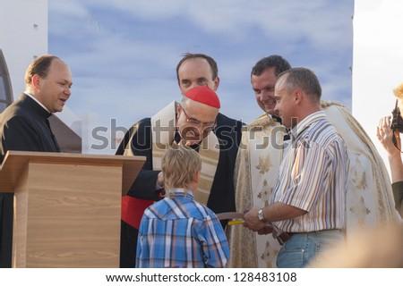 MINSK-BELARUS-JUNE 21:Roman Cardinal Tarcisio Bertone opens newly built Minsk Catholic church and greets people, June 21, 2008 in Minsk, Republic Of Belarus - stock photo
