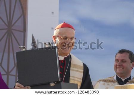 MINSK-BELARUS-JUNE 21:Roman Cardinal Tarcisio Bertone opens newly built Minsk Catholic church, June 21, 2008 in Minsk, Republic Of Belarus - stock photo
