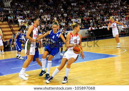 MINSK, BELARUS �JUNE 20: Tatiana TROINA (Belarus (with ball) in attack during European Championship qualifying match (Belarus Israel) on June 20, 2012 in Minsk, Belarus.