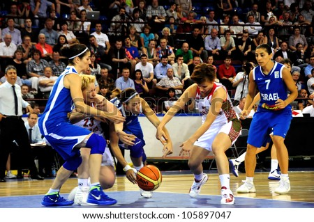 MINSK, BELARUS �JUNE 20: Unidentified basketball players fight for the ball during European Championship qualifying match (Belarus (white)- Israel) on June 20, 2012 in Minsk, Belarus.