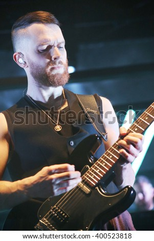 MINSK, BELARUS - March 12: Group Hurts performs on stage, March 12, 2016 in Minsk, Belarus - stock photo