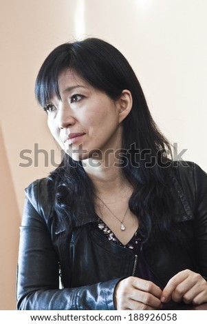 MINSK, BELARUS - March 27, 2013: Keiko Matsui gives interview before her performance in Minsk on March 27, 2013