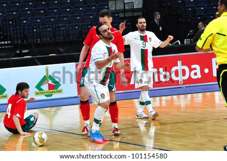 MINSK, BELARUS - MARCH 26: qualification World Cup 2012, Belarus � Portugal: Ricardinho (#10) appeals to the judge on March 26, 2012 in Minsk, Belarus - stock photo