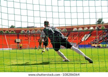 MINSK, BELARUS MAY 20: Artur Lesko (goalkeeper FC Minsk) during the penalty Shootout in final cup match between FC NAFTAN and FC MINSK on May 20, 2012 in Minsk, Belarus - stock photo