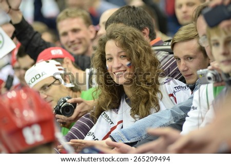 MINSK, BELARUS - MAY 17: Fan of Russia celebrate during 2014 IIHF World Ice Hockey Championship match at Minsk Arena on May 17, 2014 in Minsk, Belarus. - stock photo
