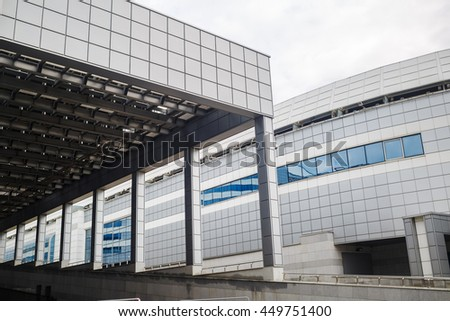 MINSK, BELARUS - MAY 03, 2016: Minsk-Arena - a sports and entertainment complex in the city of Minsk, Belarus. Close-up of industrial buildings with a colonnade. Modern architecture.