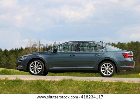 MINSK, BELARUS MAY 6, 2016: New Skoda Superb 1.8 TFSI at the test drive event for automotive journalists from Minsk