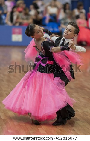 Minsk,Belarus-May 28, 2016: Unidentified Dance Couple Performs Juvenile-1 Standard European Program on National Championship of the Republic of Belarus in May 28, 2016 in Minsk, Republic of Belarus
