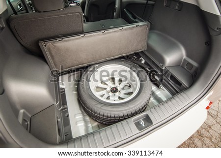 MINSK, BELARUS - NOVEMBER 14, 2015: 2016 model year Hyundai Tucson at the test-drive. Photo of the trunk and the spare wheel.