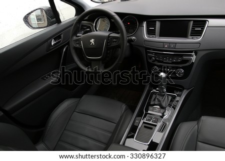 MINSK, BELARUS - OCTOBER 23, 2015: New Peugeot 508 at the test drive event for automotive journalists from Minsk