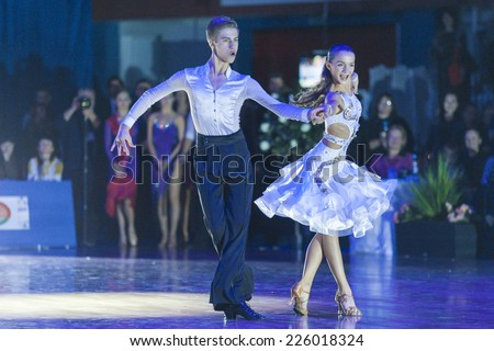 Minsk-Belarus, October 18, 2014: Unidentified Dance Couple Performs Youth-2 Latin-American Program on IDSA World Open Championship 2014 in October 18, 2014, in Minsk, Republic of Belarus