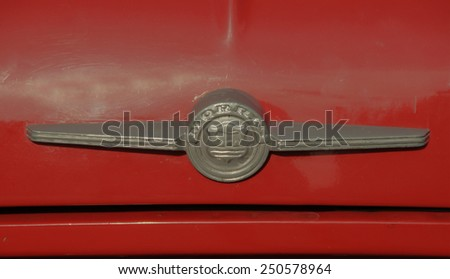 Minsk Belarus on 7 may 2014. Automobile exhibition of vintage cars. Icon red Morris - stock photo