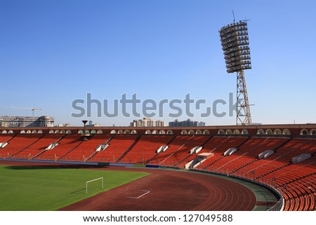 """MINSK, BELARUS - SEPT. 24: """"Dynamo"""" Stadium is shown September 24, 2010 in Minsk. The stadium was a home venue for FC Bate during Champions League in the last 5 years. - stock photo"""
