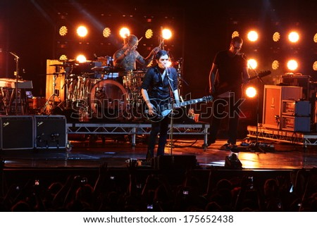 MINSK, BELARUS - SEPT 22: Rock band Placebo and  Brian Molko in concert at the Sport Palace on Saturday, September 22, 2012 in Minsk, Belarus - stock photo