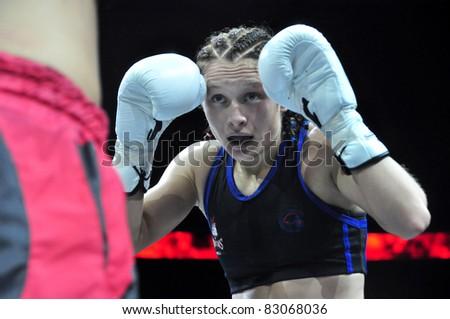 MINSK, BELARUS-SEPTEMBER 12: Alla IVASHKEVICH (BELARUS . World Champion WMF) at BIG8 MUAY-THAY in Minsk, Belarus,September12, 2010 - stock photo