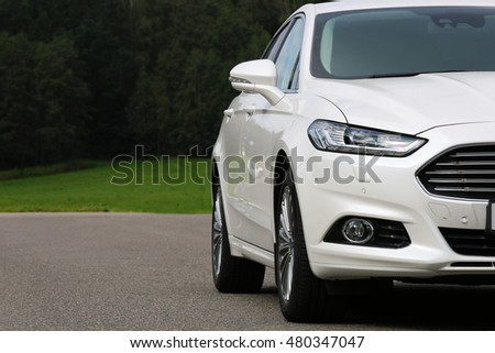 MINSK, BELARUS SEPTEMBER 2, 2016: Ford Mondeo at the test drive event for automotive journalists from Minsk
