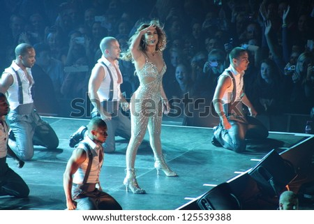 MINSK, BELARUS - SEPTEMBER 21, 2012  Jennifer Lopez at the JLO Dance Again Tour 2012 on September 21, 2012 in Minsk, Belarus - stock photo