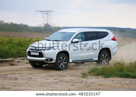 MINSK, BELARUS SEPTEMBER 14, 2016: New Mitsubishi Pajero Sport V6 at the test drive event for automotive journalists from Minsk