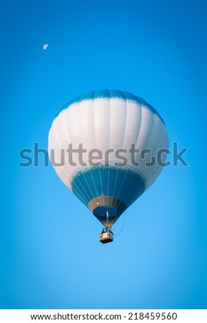 Minsk, Belarus - September 14, 2014: The FIRST OPEN CHAMPIONSHIP on aeronautic sports.White flying balloon.