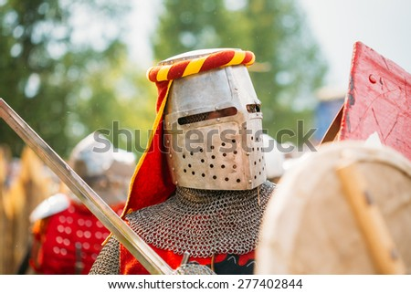 "MINSK - JUL 19: Warrior Knight participant of VI festival of medieval culture ""Our Grunwald"", dedicated to 604 anniversary of Battle of Grunwald on July 19, 2014 in Dudutki, Minsk region, Belarus"