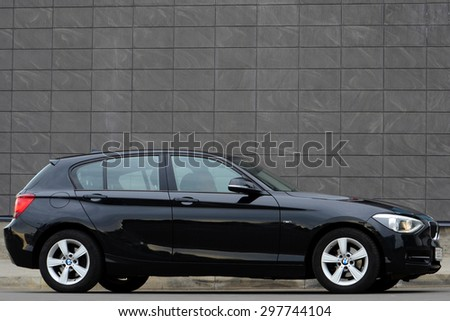 MINSK - JULY 2015: new BMW 1-series 2015 drives at the test drive event for automotive journalists from Minsk