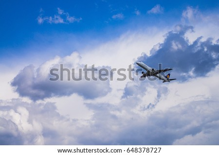 Minsk, Minsk National Airport, Belarus - May 06, 2016: Embraer ERJ-190LR  D-AECI Lufthansa CitiLine  taking off with background of blue cloudy sky.