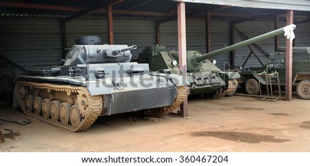 MINSK REGION, BELARUS - MARCH 29, 2015: WWII tanks in the Stalin Line museum backyard