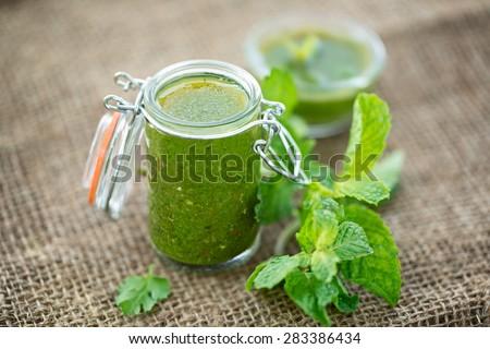 mint and coriander chutney - stock photo