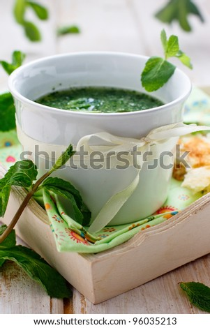 Mint and cucumber cold soup