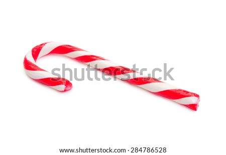 Mint candy cane striped in traditional Christmas colors isolated on a white. - stock photo