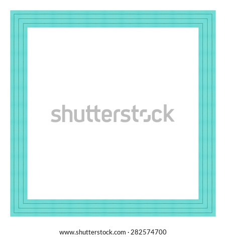 Mint color wooden frame isolated on white background. - stock photo