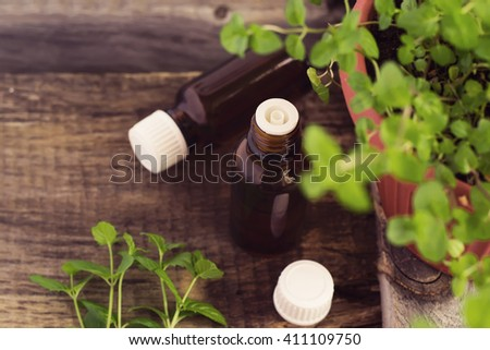 Mint Essential Oil in a Glass Bottle and  Fresh mint sprigs, tinted - stock photo