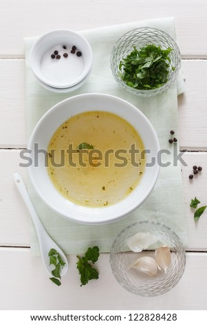 Mint, garlic, salt, pepper and stock for a marinade. - stock photo