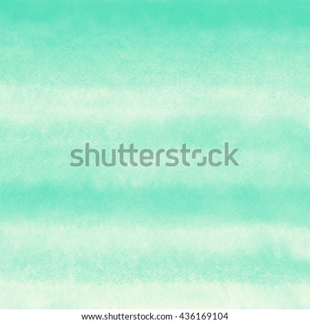 Mint green striped watercolor background. Painted gradient template. Watercolour texture with stains and streaks.  - stock photo