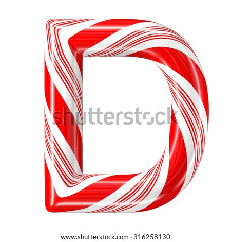 Mint hard candy cane 3d alphabet collection striped in Christmas colours. Letter D. - stock photo