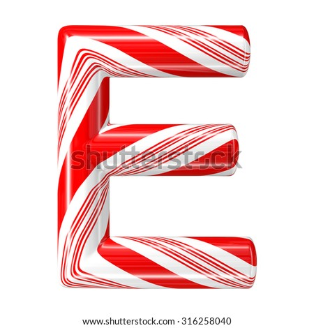 Mint hard candy cane 3d alphabet collection striped in Christmas colours. Letter E. - stock photo
