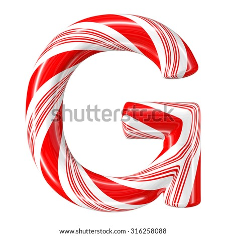 Mint hard candy cane 3d alphabet collection striped in Christmas colours. Letter G. - stock photo