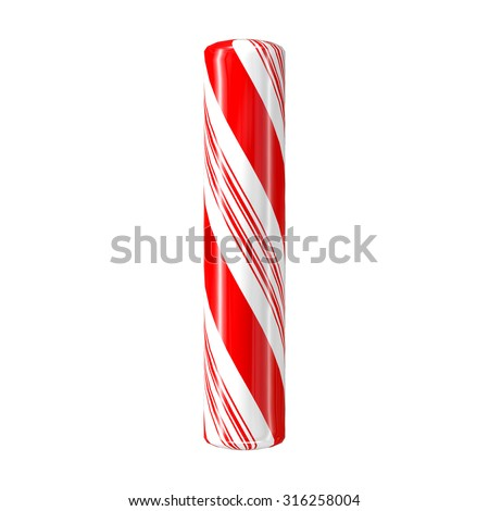 Mint hard candy cane 3d alphabet collection striped in Christmas colours. Letter I. - stock photo