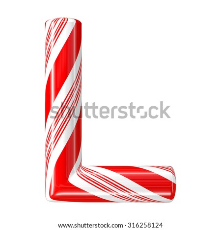 Mint hard candy cane 3d alphabet collection striped in Christmas colours. Letter L. - stock photo