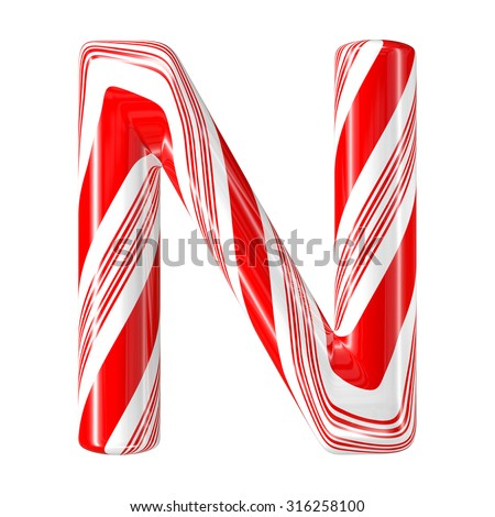 Mint hard candy cane 3d alphabet collection striped in Christmas colours. Letter N. - stock photo
