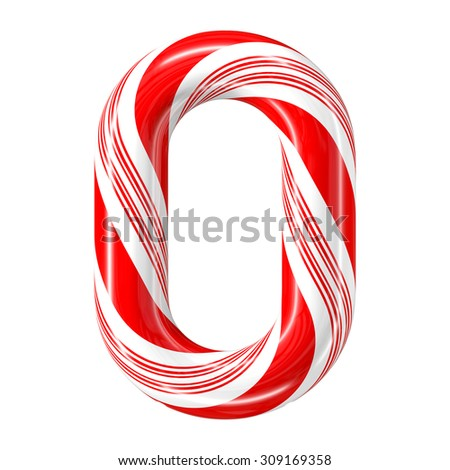 Mint hard candy cane 3d number collection striped in Christmas colours. Figure 0.